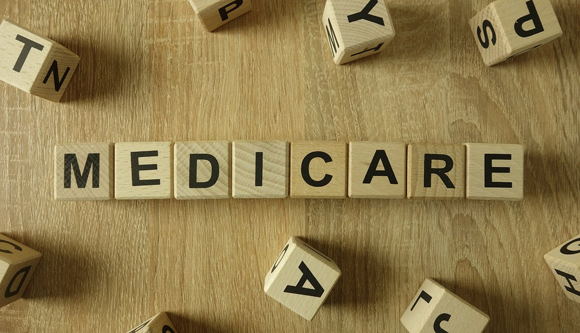 wooden blocks printed with letters spell out the word medicare