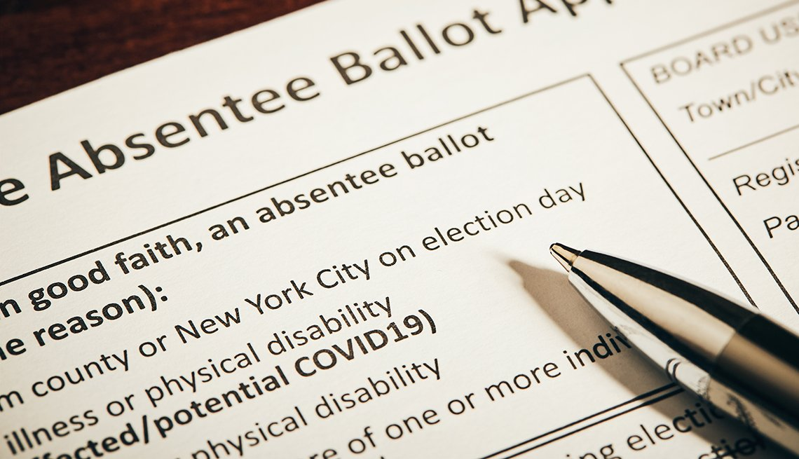 Formulario de voto electoral para enviar por correo