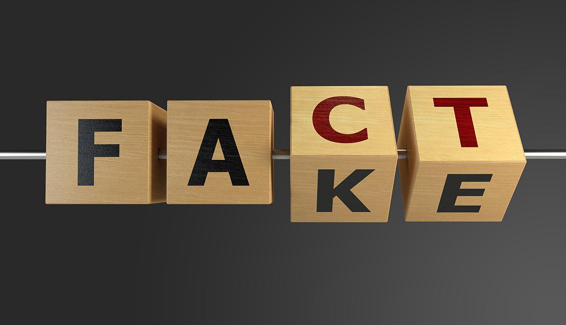 Cubos de madera con las palabras en inglés Fact y Fake