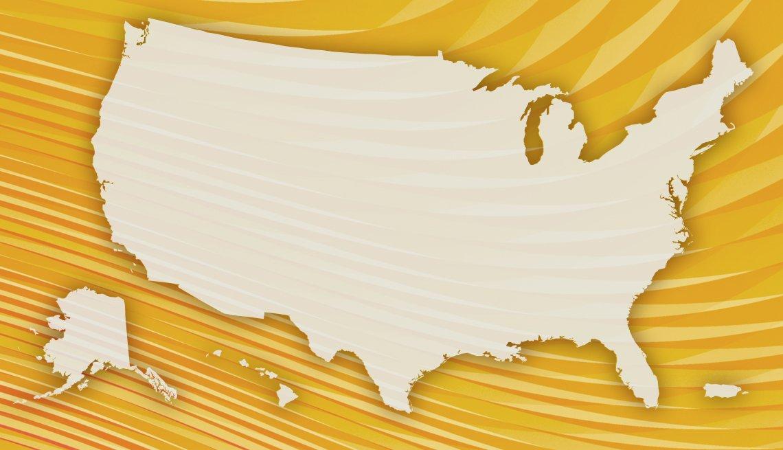 Mapa de Estados Unidos sobre un fondo dorado