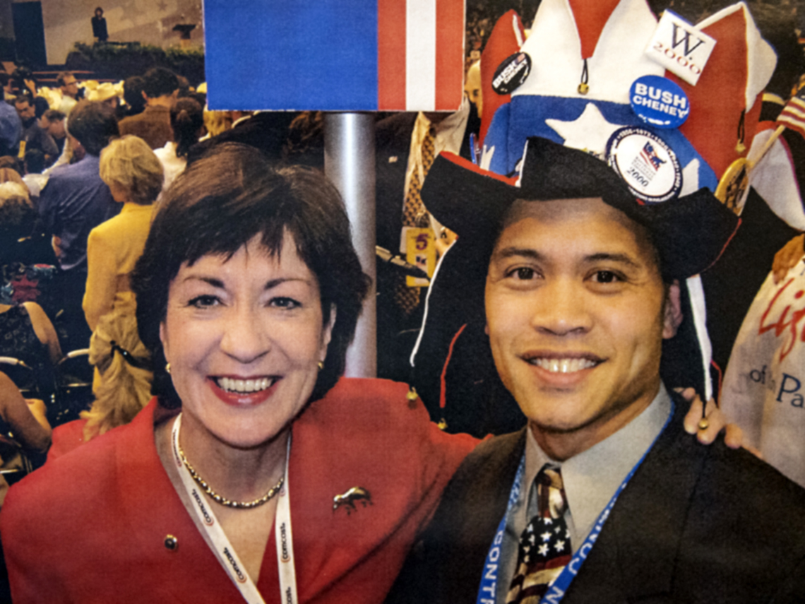 delegate mark ellis with senator susan collins at the two thousand four republican national convention