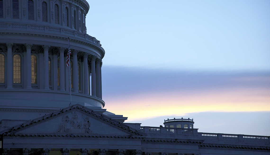 closeup of the U.S. Capitol building dome at sunset in Washington, D.C., on Aug 5, 2020