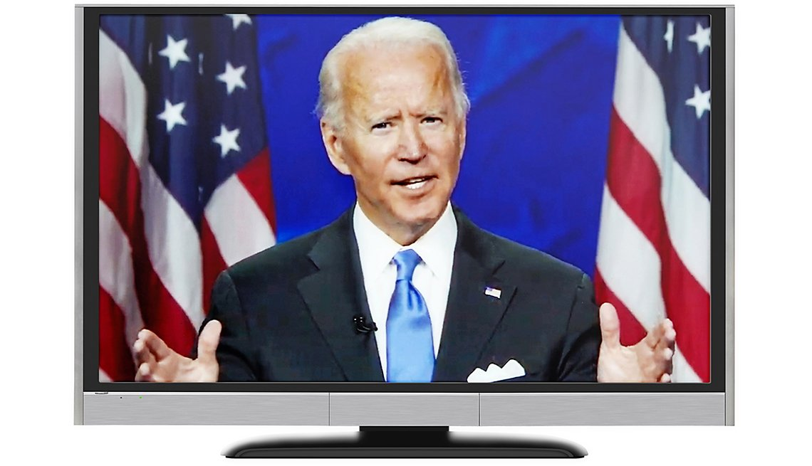 presidential candidate joe biden shown speaking on a television monitor