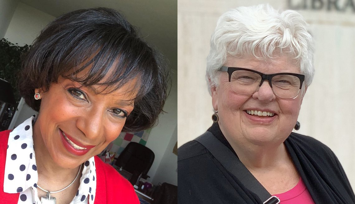 two side by side photos of poll workers diane roberts and susan fadness