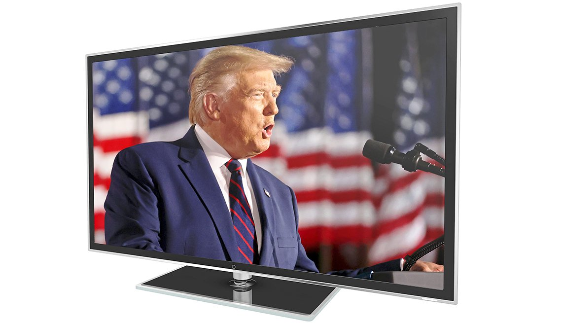television showing president donald trump speaking at the twenty twenty republican national conference