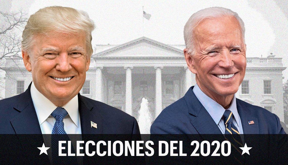 Imágenes de Donald Trump y Joe Biden con la Casa Blanca atrás