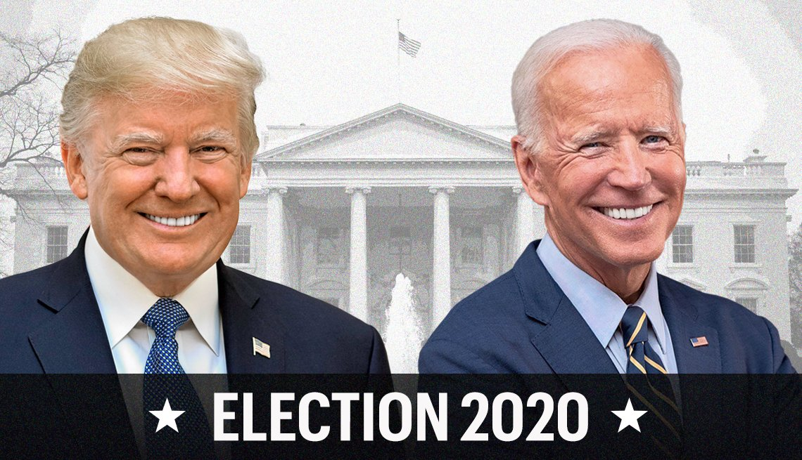 photographics of presidential candidates donald trump and joe biden collaged with the white house in the background