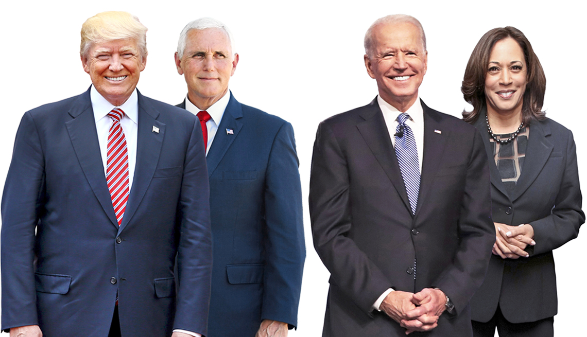 from left to right donald trump mike pence joe biden and kamala harris