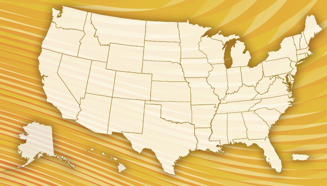 map of the united states with a. gold abstract treatment
