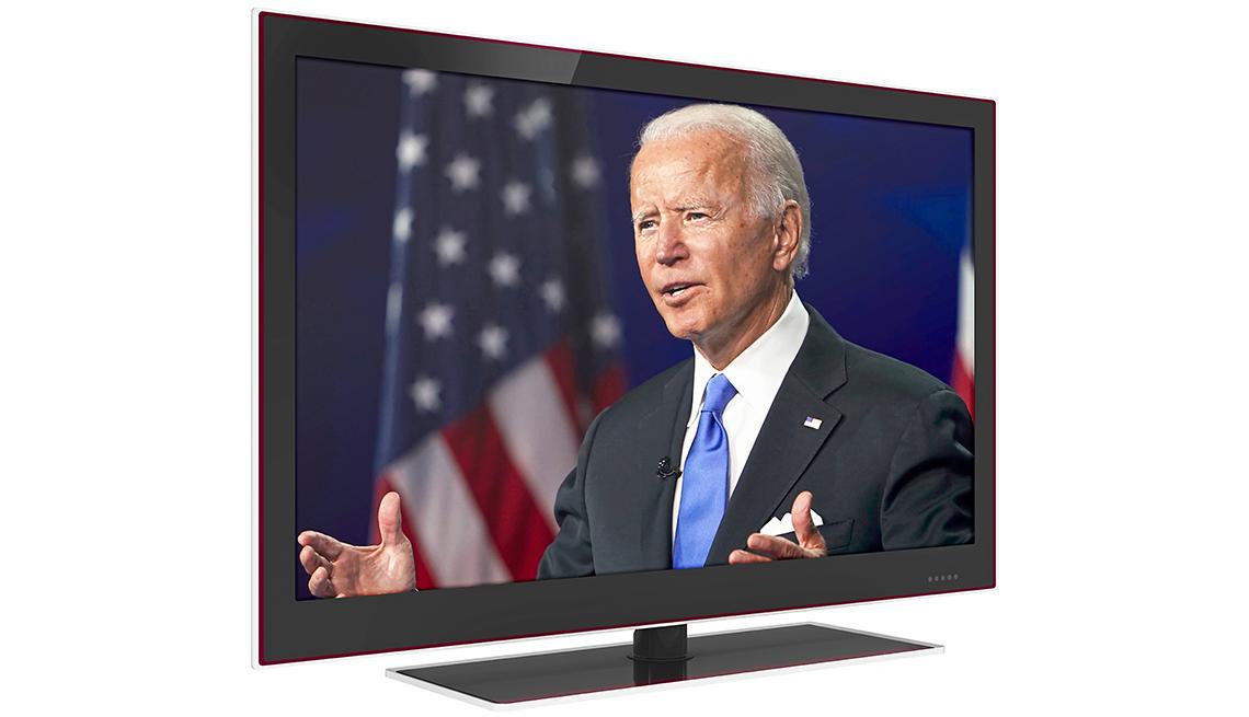 television showing joe biden speaking at the democratic national conference in august twenty twenty