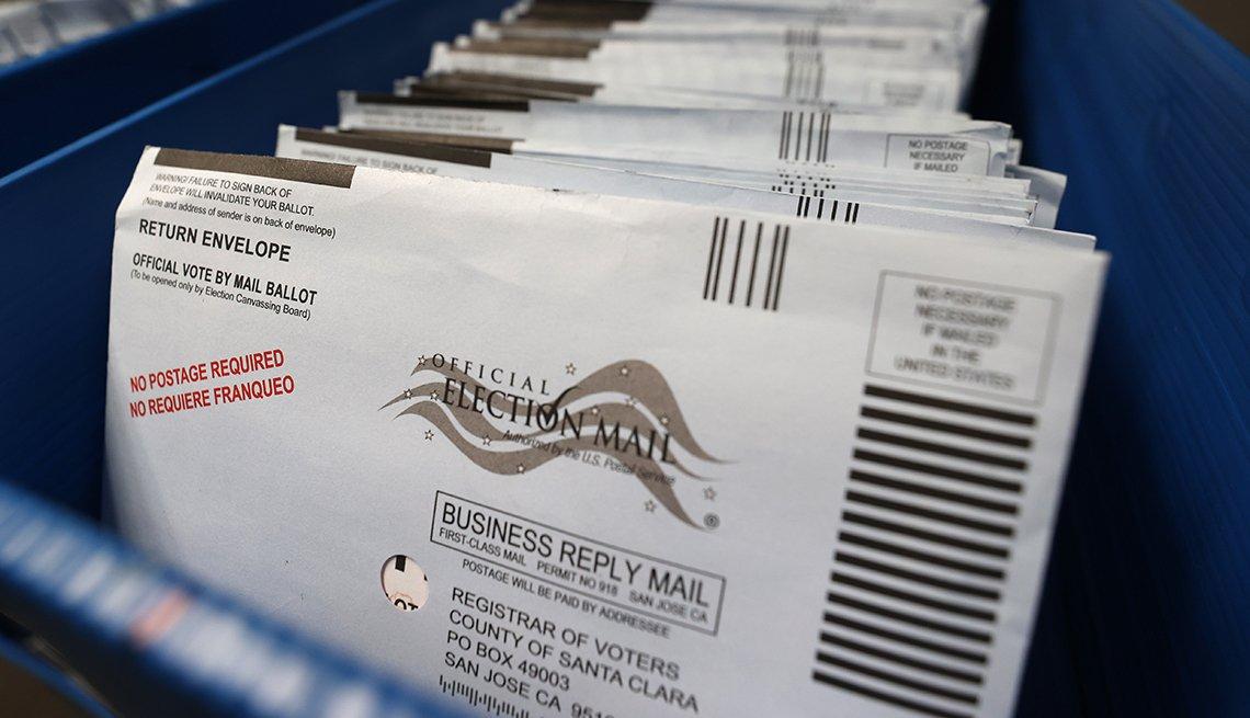 Votos por correo en una bandeja previo a ser clasificados
