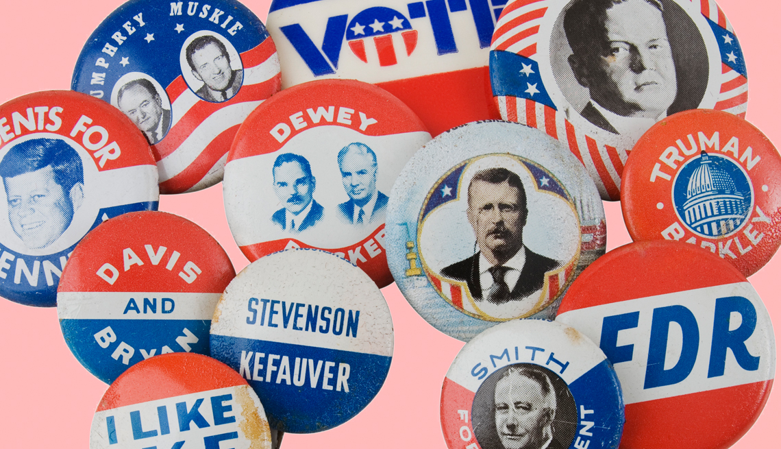 a collage of old presidential campaign buttons