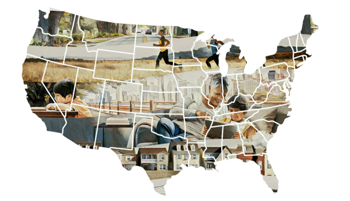 US map with images of people in the background