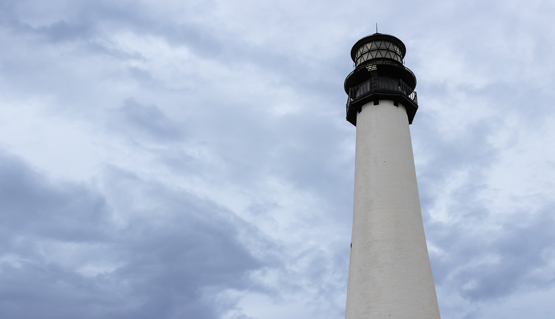 Lighthouse at Bill Baggs Cape Florida State Park in Key Biscayne Florida on a cloudy day