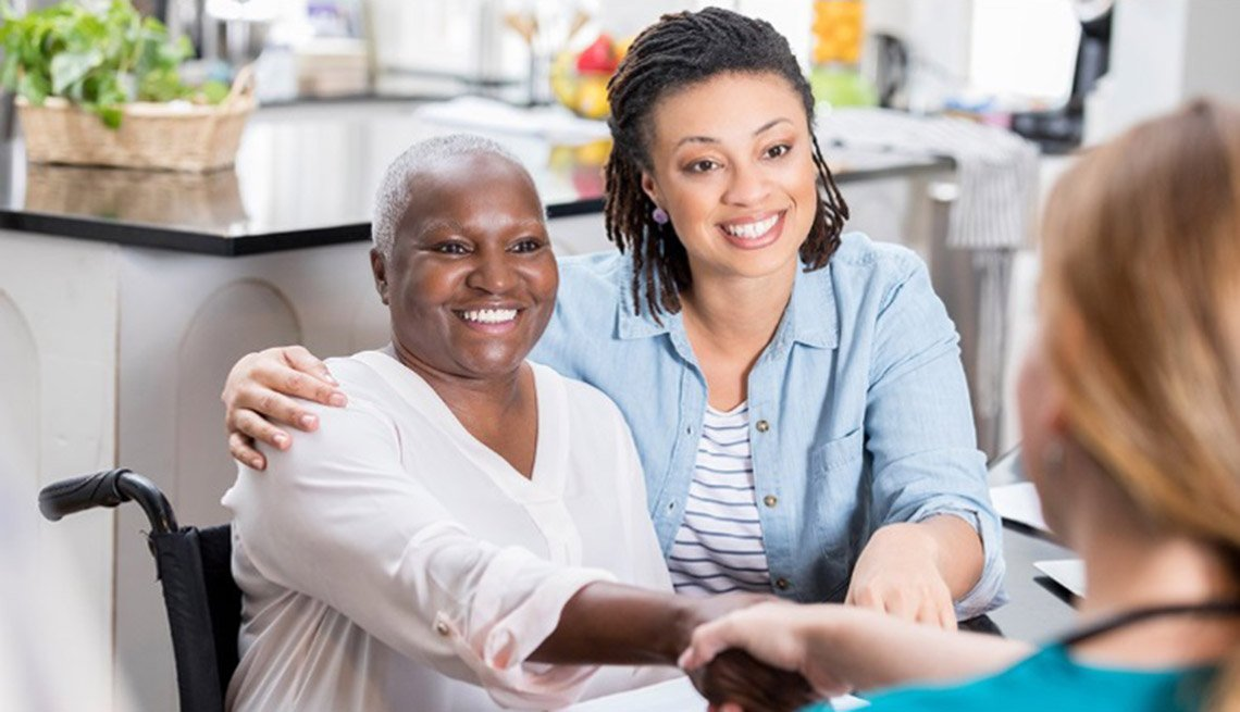 Family Caregiver with Patient and Nurse