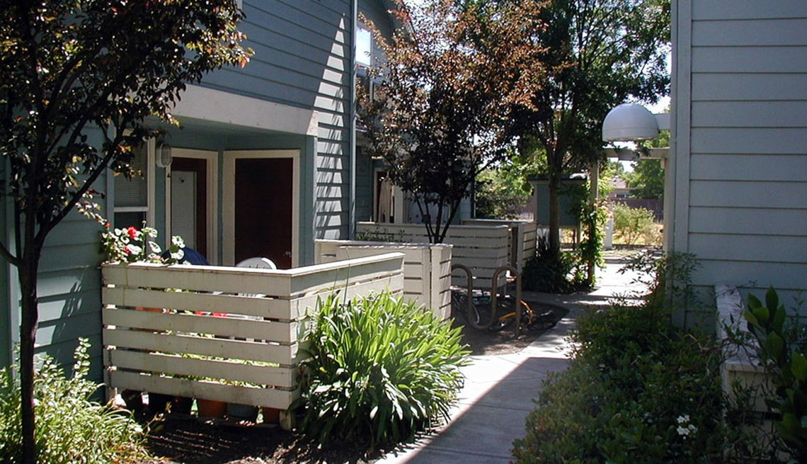 Exterior of townhouse, small deck, Housing Affordability, Public Policy Institute, Livable Communities