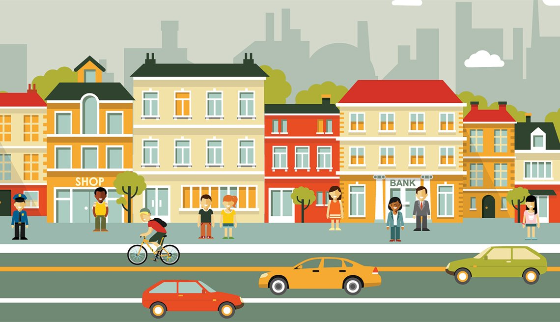 Illustration, City Scene, Complete Streets, Transportation, Public Policy Institute, AARP, Livable Communities