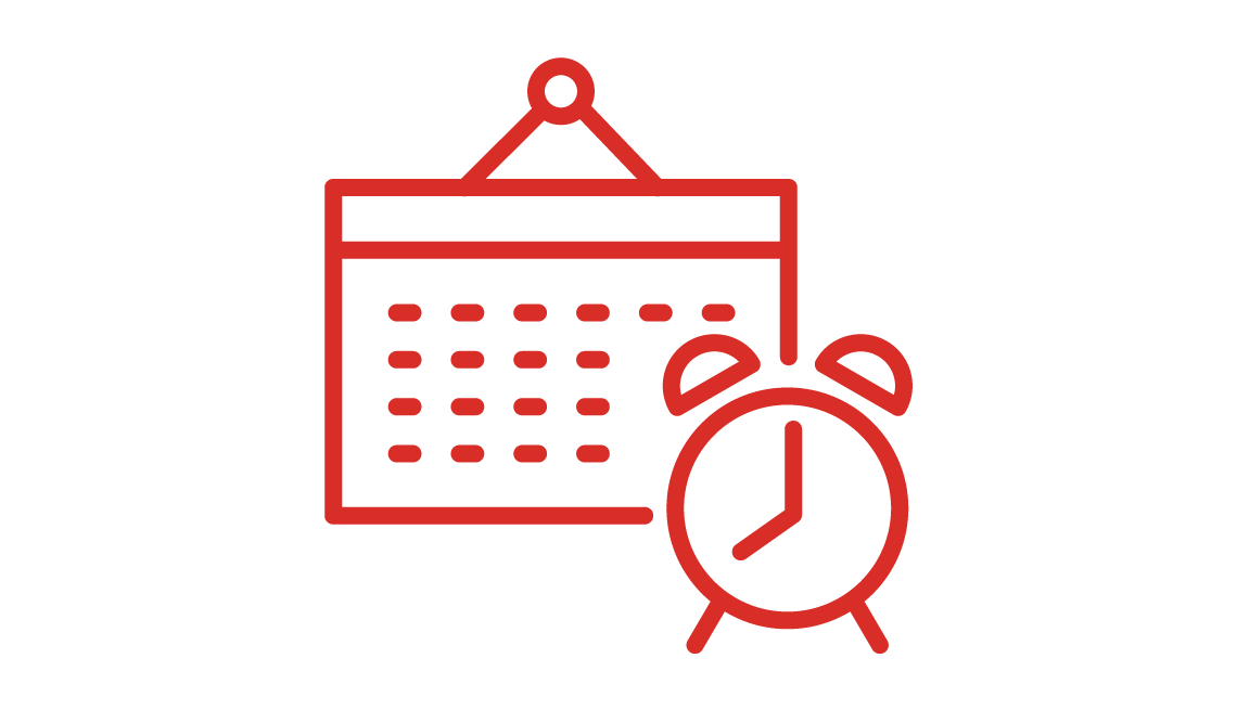 Icon of a calendar and alarm clock