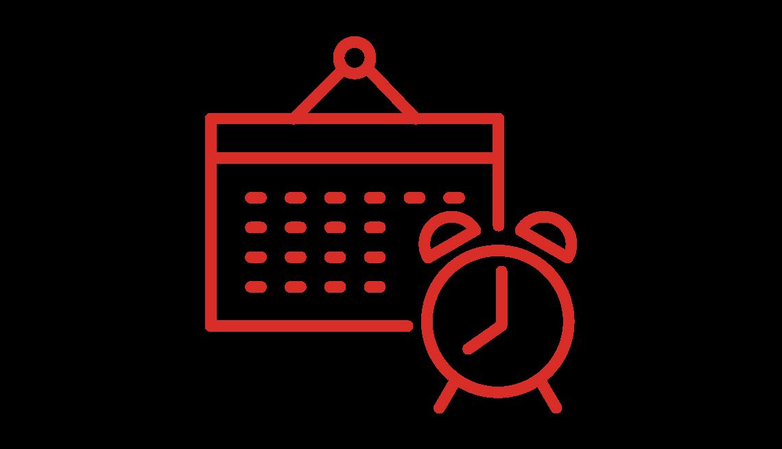 Icon of a calendar and alarm clock