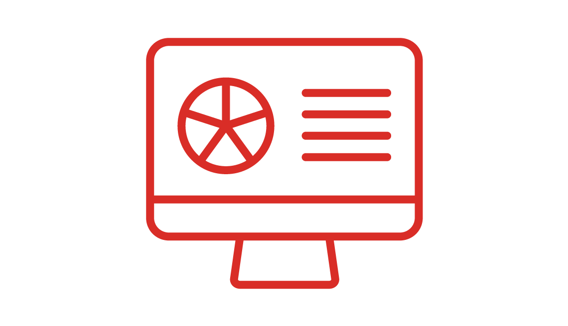 Icon of a computer with a pie graph on the screen