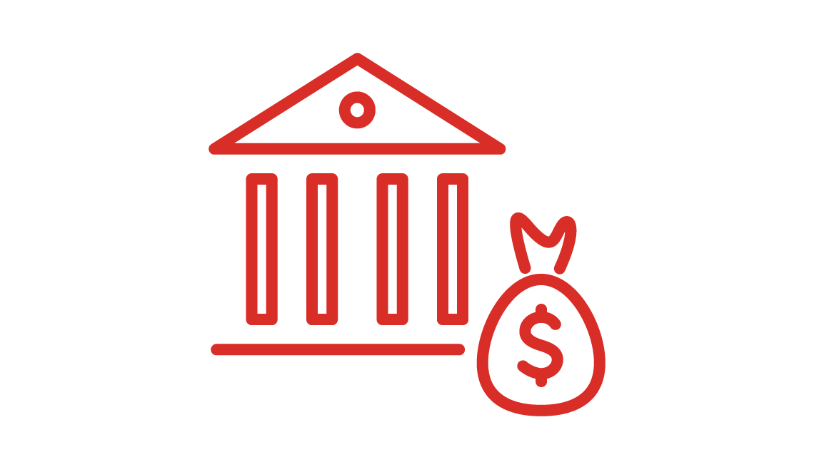 Sketched icon of a building and a bag of money