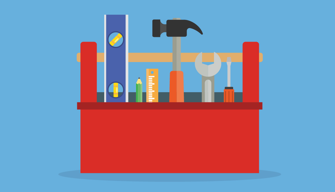 Illustration of a tool box full of tools