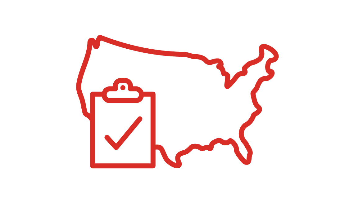 Drawing of a US map with a clipboard