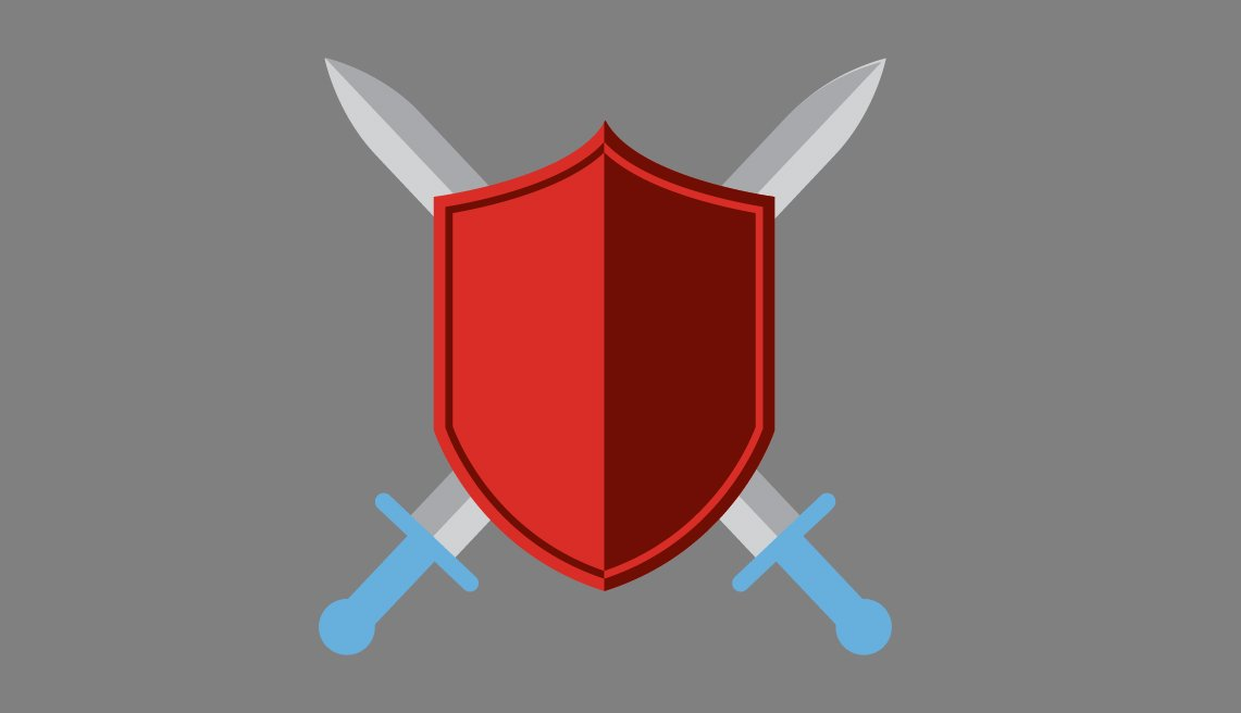 Illustration of a shield and two swords