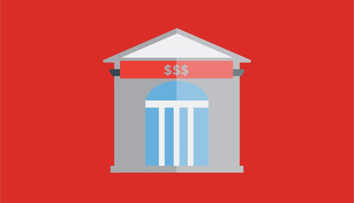 Illustration of a the front of a building representing a financial institution