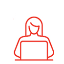 icon of woman using computer
