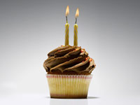 two birthday candles on a cupcake
