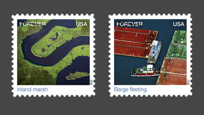 Earthscape stamps - Jim Wark aerial photographer U.S. Postal Service Stamps