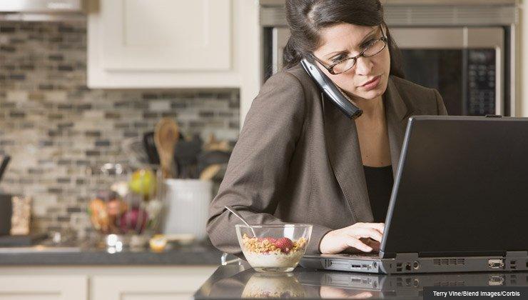 multitasking woman on the phone