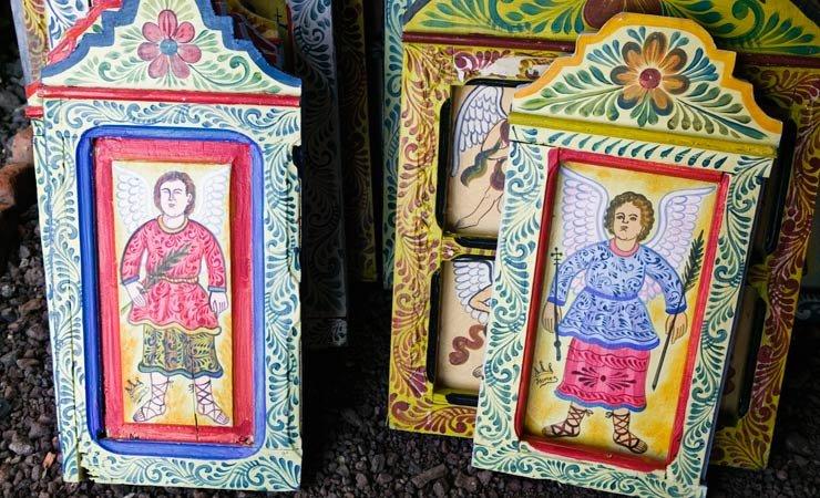 Portratos de ángeles pintados a mano en madera