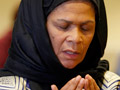 Professor Amina Wadud leads a Friday prayer service