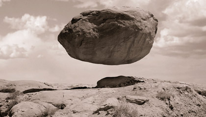Levitating rock representing belief in miracles
