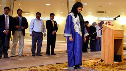 Amina Wadud leads a Friday prayer service in Oxford, England.