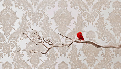 A red bird sits on a branch in front of a wallpapered wall.
