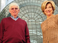 Portrait of Jane Pauley with architect Charles Thornton at Ground Zero in New York City