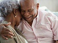 Loving senior married couple