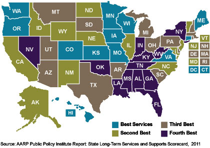 Long-term Care Best Services U.S. map