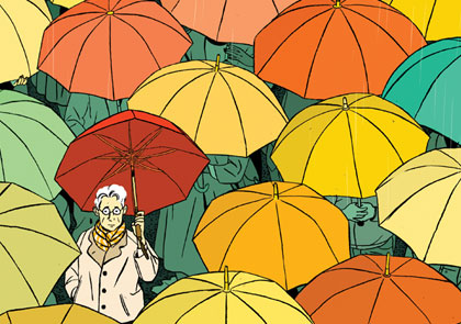 lonely person in a sea of umbrellas