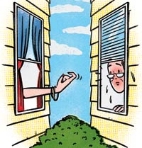Cartoon of a frisky female neighbor beckoning a man through a side window.