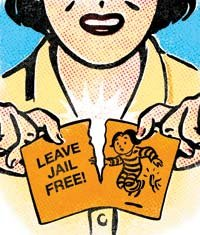 """illustration - woman tearing 'leave jail free!' card - for """"Should I bail out my neighbor's daughter?"""""""