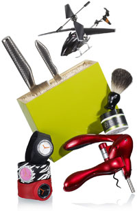 toy helicoptor, shaving kit, watches and other gift ideas for the diva