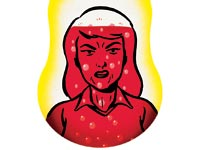 Illustration of an angry, red-faced woman