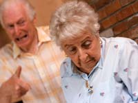 Senior man yelling at senior woman, Older adults can be bullies too