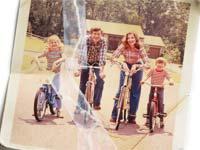 Old torn photo of family on bikes-Family Estrangement