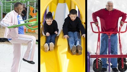 Newly designed playgrounds for all ages improve everyone's health.