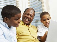 Grandchildren grandfather play games online fun